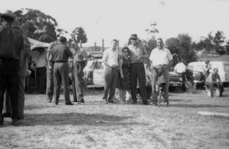 Camberwell & Melbourne Gun Club member Bill Attwood (left) with friends at Camberwell