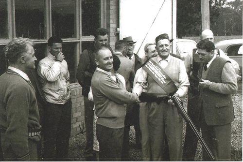 Croydon Clay Target Club (October 1961) - Norm Kneebone with Single Barrel Championship winner Bob McKnight
