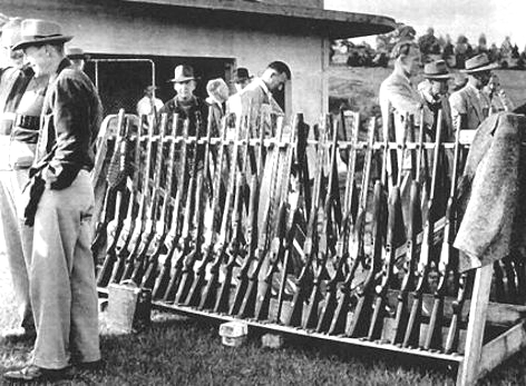 The gun rack at Camberwell & District Clay Target Club in 1959