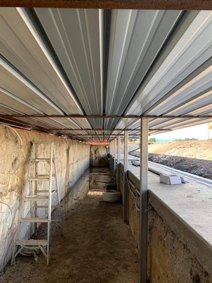 The roof underside